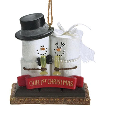 "3.25″ S'mores ""Our 1st Christmas"" Newlywed Bride and Groom Holiday Ornament"