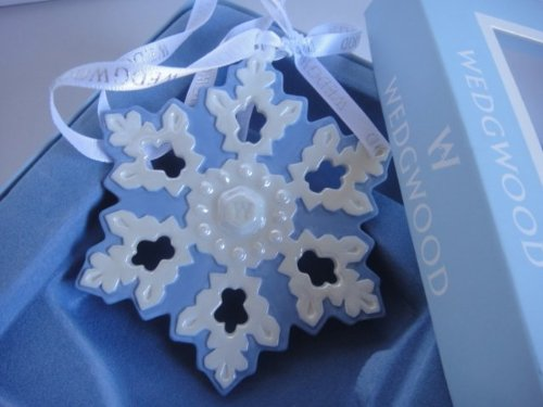 Wedgwood Blue and White Jasperware Snowflake Holiday Christmas Ornament