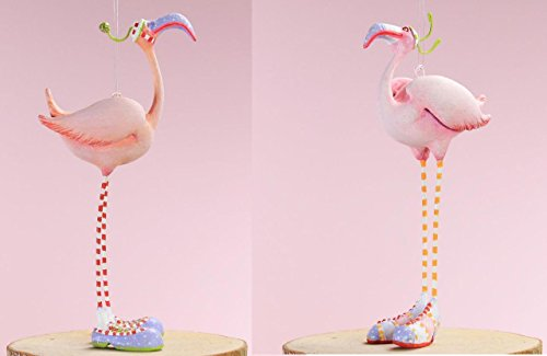 Patience Brewster Jambo Collection Mini Sheldon & Sheila Flamingo Ornaments 3.5″