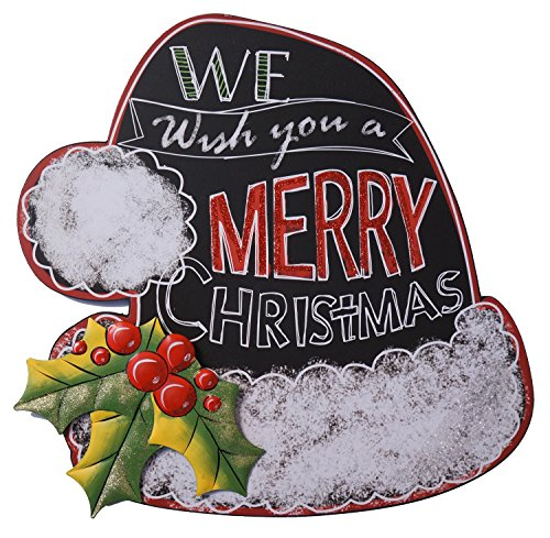 Festive Holiday Chalkboard Hanging Sign with Metal and Glitter Accents (We Wish You)