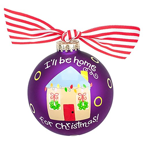 I'll Be Home for Christmas Glass Ornament