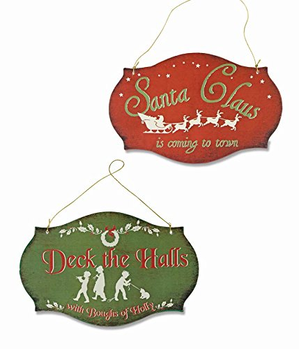 Bethany Lowe Retro Red Green Christmas Signs Hanging Ornaments