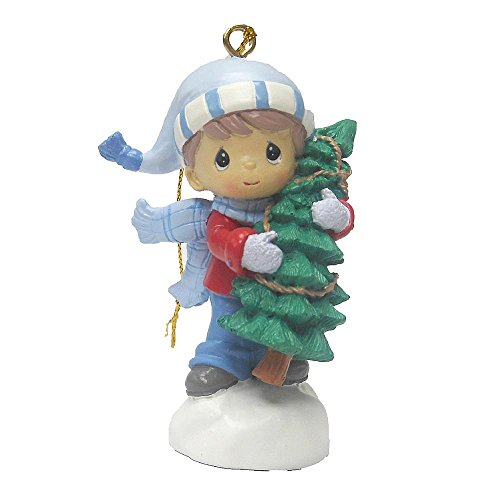 Precious Moments Christmas Holiday Tree Ornament – Little Boy in Blue Carrying Christmas Holiday Tree