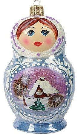 Frosty Matryoshka Nesting Doll Polish Glass Christmas Ornament Made in Poland