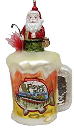 December Diamonds Blown Glass Ornament Fishing Santa on Beer Mug