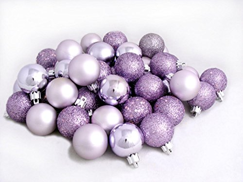 32ct Lavender Purple Shatterproof 4-Finish Christmas Ball Ornaments 3.25″ (80mm)