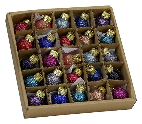 Kurt Adler .78 Glitter Glass Ball Ornaments – 25 Pieces #C1962 by Kurt Adler