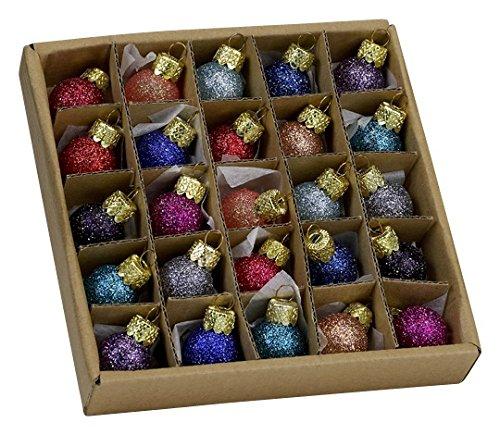 Kurt Adler .78 Glitter Glass Ball Ornaments – 25 Pieces #C1962 by Kurt Adler