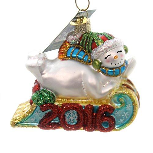 2016 Sledding Snowman Glass Tree Ornament 24166