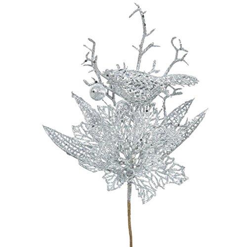 Vickerman 414163 – 13″ Silver Poinsettia-Bird Pick (12 pack) (QG165207)