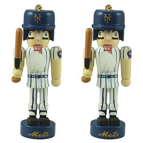MLB Officially Licensed Mini Nutcracker Christmas Ornament Set (New York Mets)