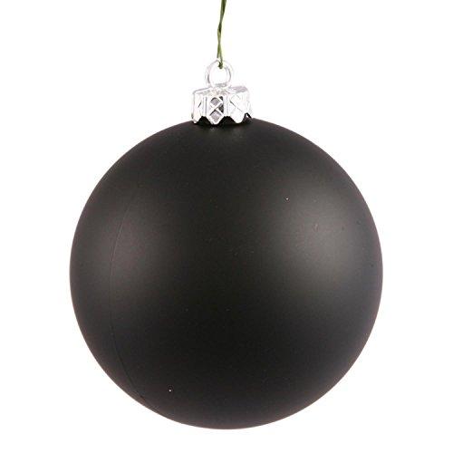 Vickerman Matte Jet Black UV Resistant Commercial Shatterproof Christmas Ball Ornament, 4″
