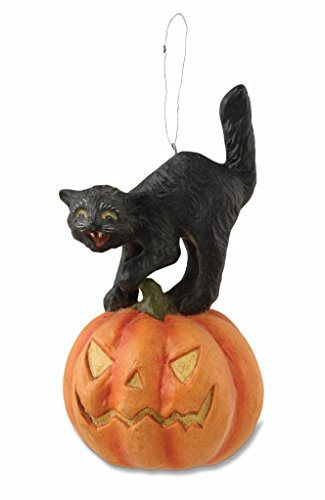 Bethany Lowe Happy Hauntings Halloween Ornament Black Cat Jack-O-Lantern, 5″
