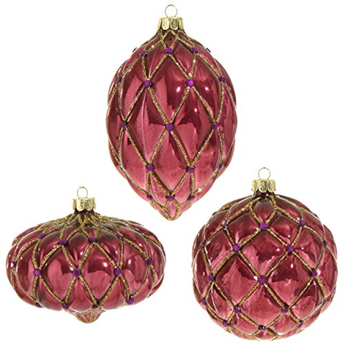 RAZ Imports – Plum Visions – 4″ Glittered Gem Ornaments – Set of 3