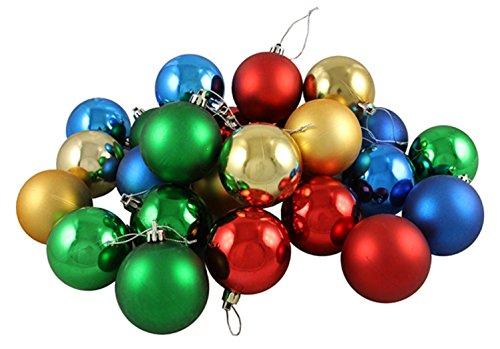 24ct Matte/Shiny Primary Color Shatterproof Christmas Ball Ornaments 2.5″ (60mm)