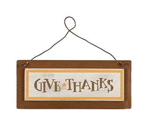 PBK Fall Decor – Tin Metal Sign Give Thanks Thanksgiving 3″ x 7″ #22991