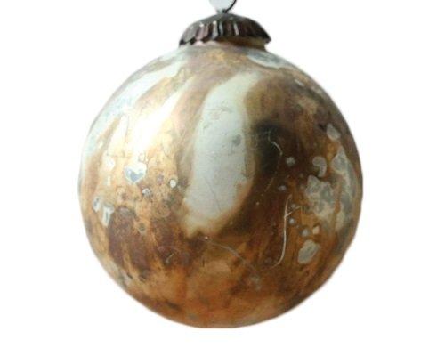 4″ Round Glass Ornament w/ Marble Design, Distressed Cream w/ Copper Finish (4)