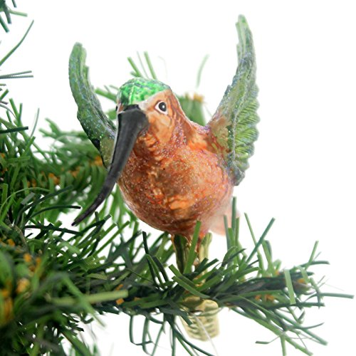 Noble Gems HUMMINGBIRD CLIP-ON ORNAMENT Hand Crafted Glass Ornaments Nb0300 Gold