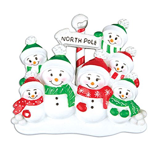 North Pole Family of 7 Personalized Christmas Tree Ornament