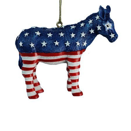 Kurt Adler Resin Red White and Blue Democratic Patriotic Donkey Ornament