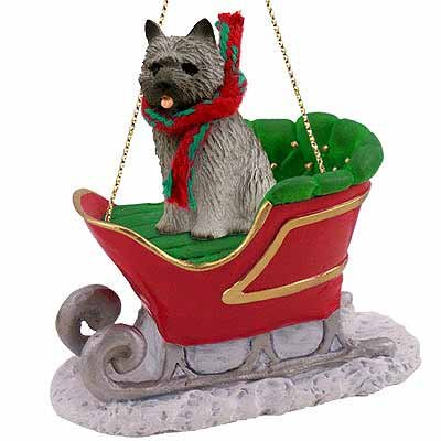 Cairn Terrier Sleigh Ride Christmas Ornament Gray – DELIGHTFUL! by Conversation Concepts