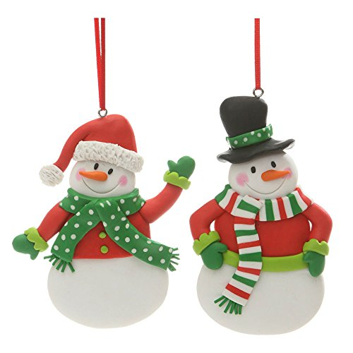 Christmas Holiday Handmade Clay Snowman Figure Ornament 4.5″ x 3″