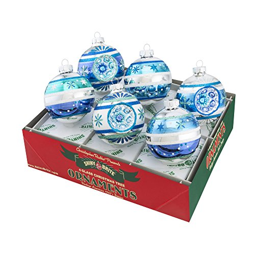 Shiny Brite Winter Frost Decorated Rounds with Reflectors – Set of Six