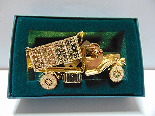 Baldwin DUMP TRUCK Christmas Ornament, Brass with 24k Gold Overlay