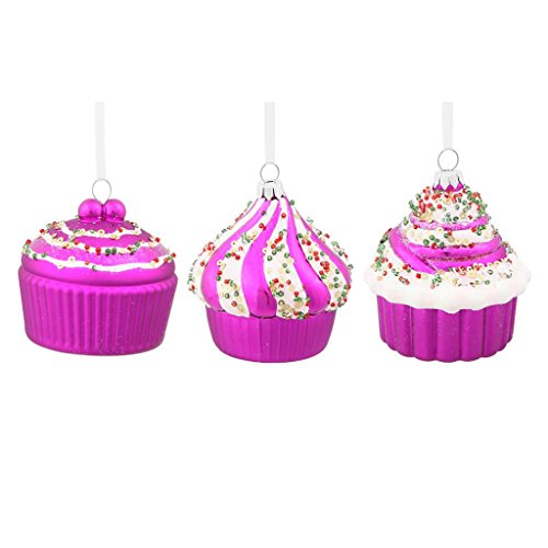 Vickerman 33576 – 3″ Cerise Assorted Cup Cakes Christmas Tree Ornament (3 pack) (M131509)