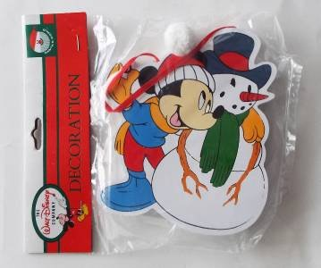 NEW Disney Kurt S. Adler Handcrafted Wood Christmas Ornament Mickey & Snowman