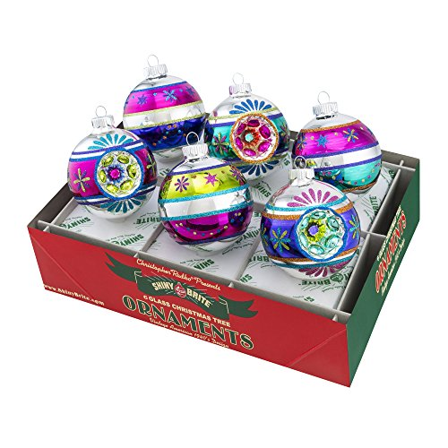 Shiny Brite Christmas Brites Decorated Rounds with Reflectors – Set of Six