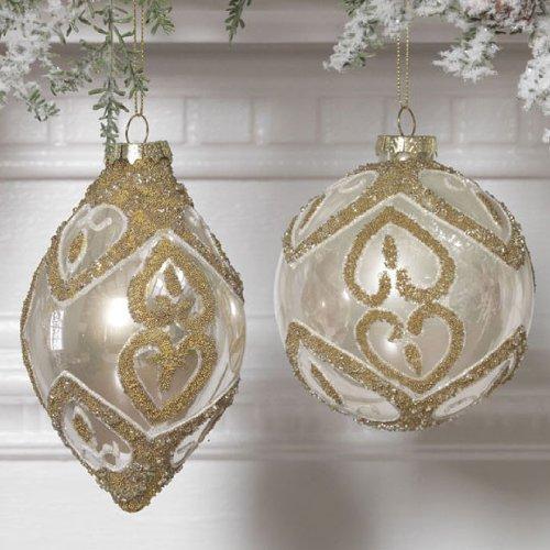 RAZ Imports – Cream and Gold Beaded Glass Ornaments