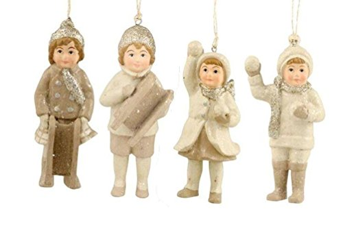 Bethany Lowe Woodland White Christmas Snow Children Ornaments Ivory Platinum