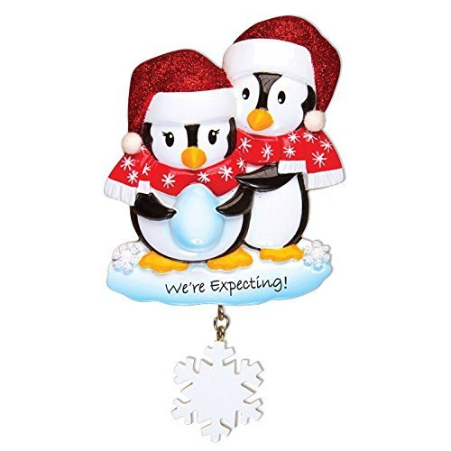 We're Expecting Penguins Personalized Christmas Tree Ornament by Polar X