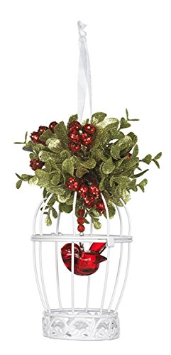 Kissing Krystals Mistletoe Birdcage Ornament