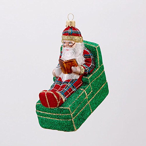 David Strand Designs Glass Bedtime Story Stewart Plaid Santa Christmas Ornament