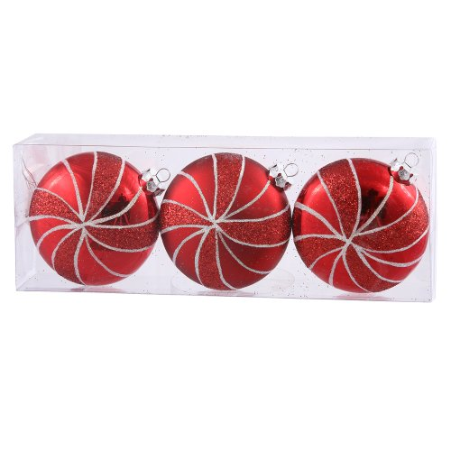 Vickerman 375″ Red Flat Ball with Glitter 3 per Box