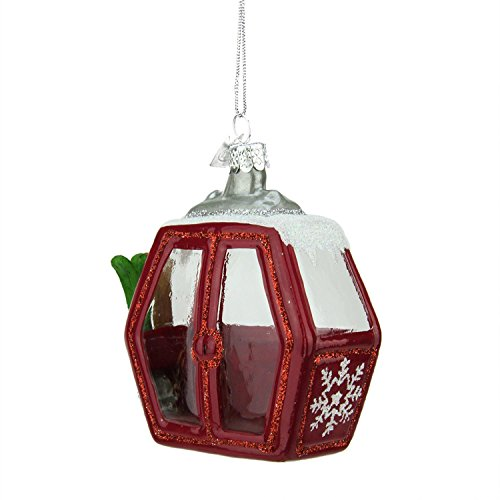 3″ Noble Gems Glittered Ski Cable Car with Silver Snowflake Glass Christmas Ornament