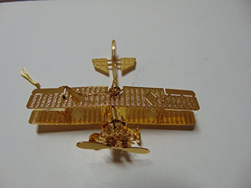 Baldwin BIPLANE Christmas Ornament, Brass with 24k Gold Overlay