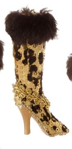 RAZ Imports Leopard Print Boot Ornament, Choice of Colors (gold)