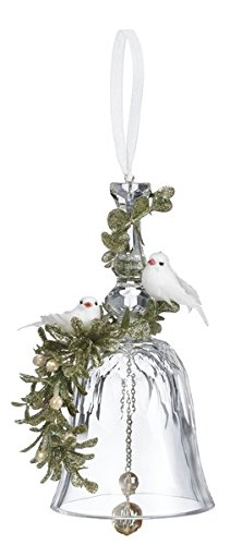 GANZ 7″ Kyrstal Kiss Ball Ornament, Double Dove Floral Bell BACKORDERED – Wedding Acrylic Kissing Crystal-like KK100