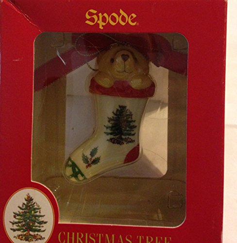 Spode Porcelain Teddy Bear in Christmas Stocking Ornament–NIB!