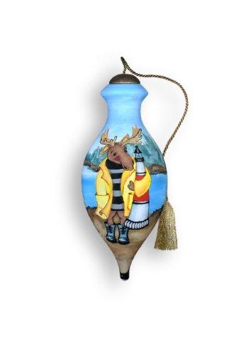 Ne'Qwa Art Moose Harbor – Glass Ornament Hand-Painted Reverse Painting Distinctive 621-NEQ