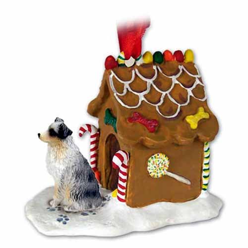 Australian Shepherd Gingerbread House Christmas Ornament Blue Docked Tail – DELIGHTFUL! by Conversation Concepts