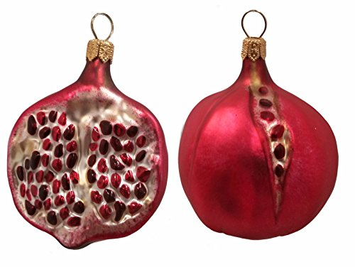 Pomegranate Fruit Polish Blown Glass Christmas Ornament Set of 2 Decorations