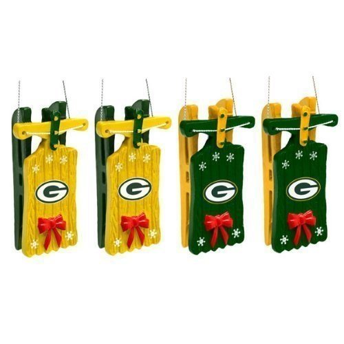 Green Bay Packers Sleigh Ornament 4 Pack