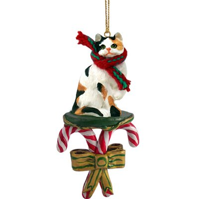 Calico Cat Candy Cane Christmas Ornament