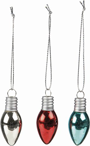 Primitives By Kathy Set/6 Glass Lightbulb Ornaments 2″ Tall (2 of each color)