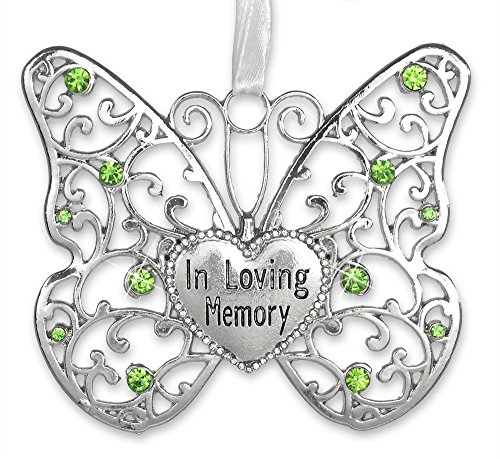 In Loving Memory Ornament – Rememberance Silver Filigree Butterfly with Engraved Heart Charm – Light Green Crystals with White Ribbon to Hang – Bereavement Gifts – Sympathy Gifts