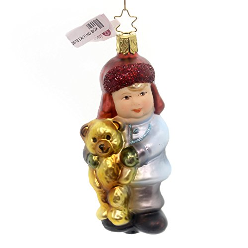 Inge Glas MY TEDDY ORNAMENT Glass Child Bear Christmas 102816